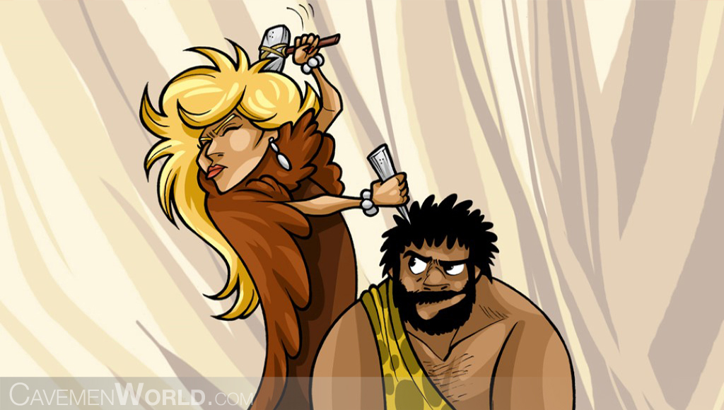 a Caveman woman doing a Brain Surgery to a caveman with a hammer