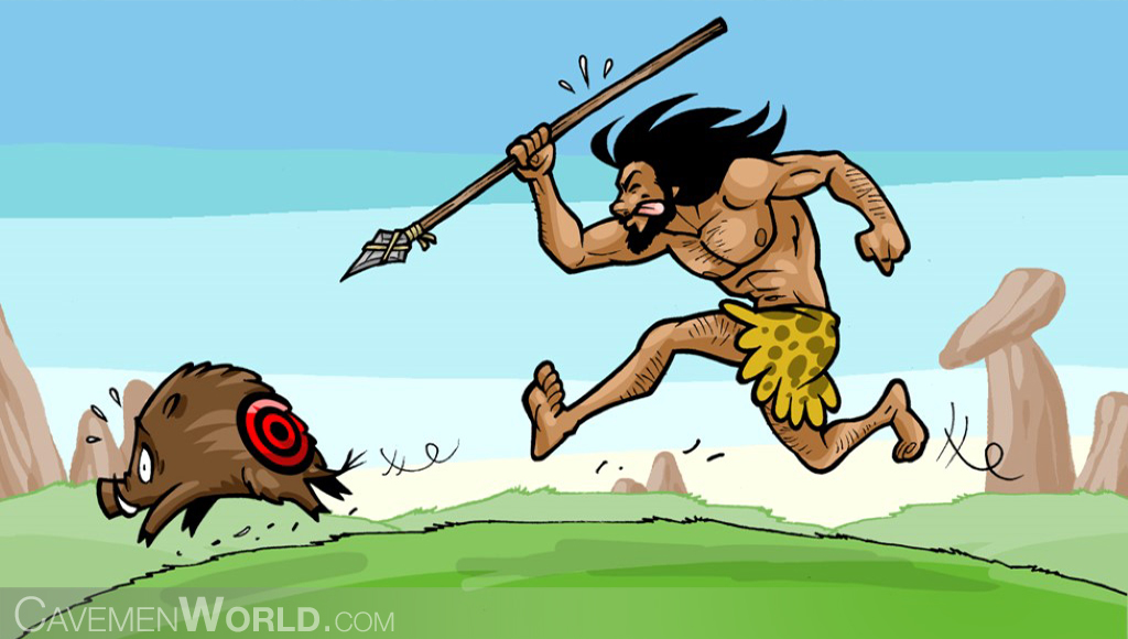 a caveman is hunting a wild boar with a spear