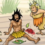 a cavewoman is scolding a young caveman because he waste too much food