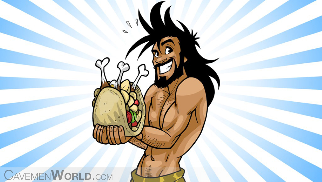 a caveman is eating a chicken kebab