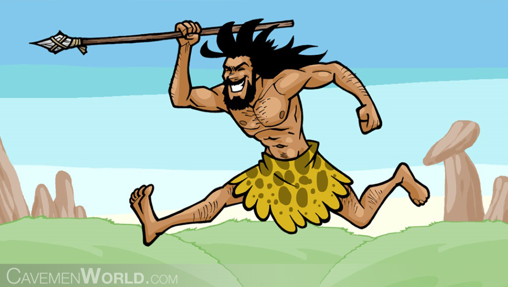 a young caveman is hunting with a spear