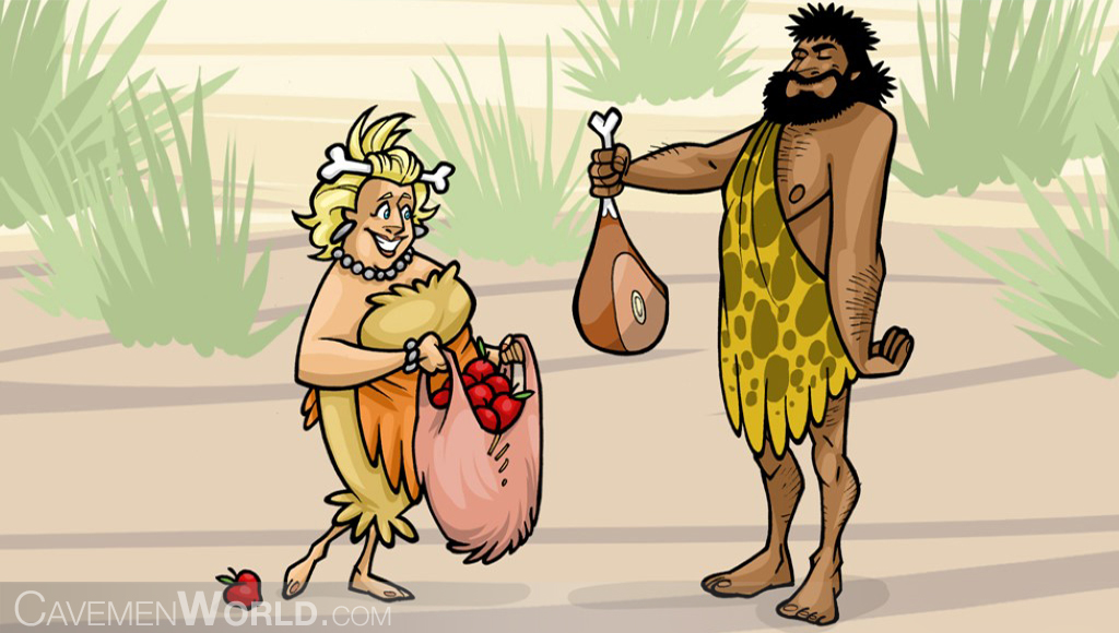two cavemen have something to dinner, apples and meat from the farmer market