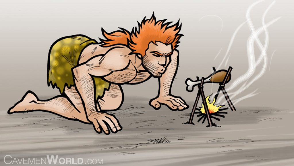 a young strong caveman is stoking the fire to cook a chicken leg