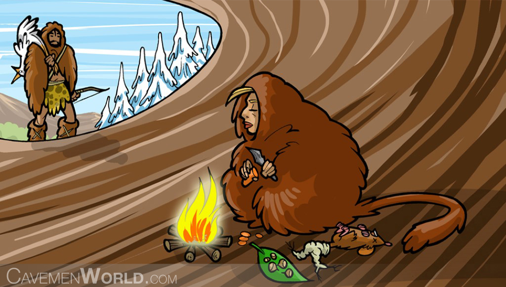 two cavemen are preparing their dinner at a fire inside a cave in winter