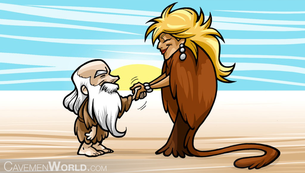 an old caveman is greeting a cavewoman