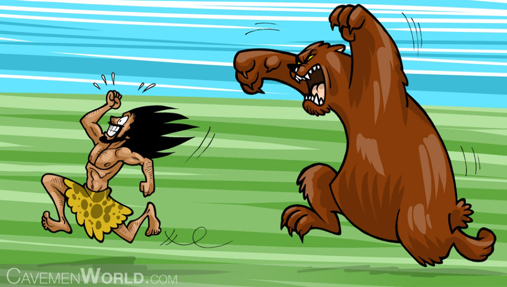 a huge bear is attacking a caveman
