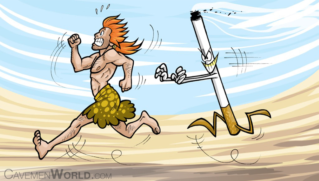 a caveman is running to escape from a cigarette