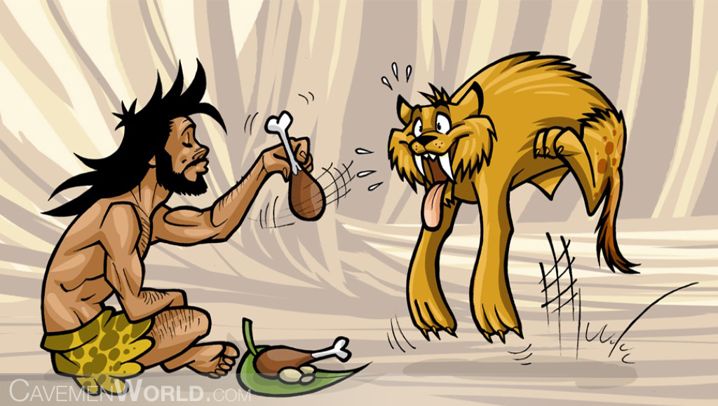 a caveman is feeding his pet a tiger saber tooth with a chicken leg