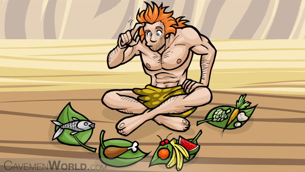 a caveman is choosing what to eat between fish, chicken, vegetables or fruits