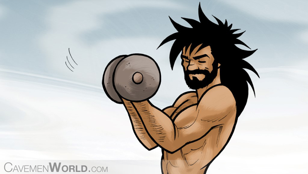 a caveman doing workouts with heavy weights