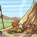 a caveman is bringing an animal to eat, while a cavewoman is cooking for their children
