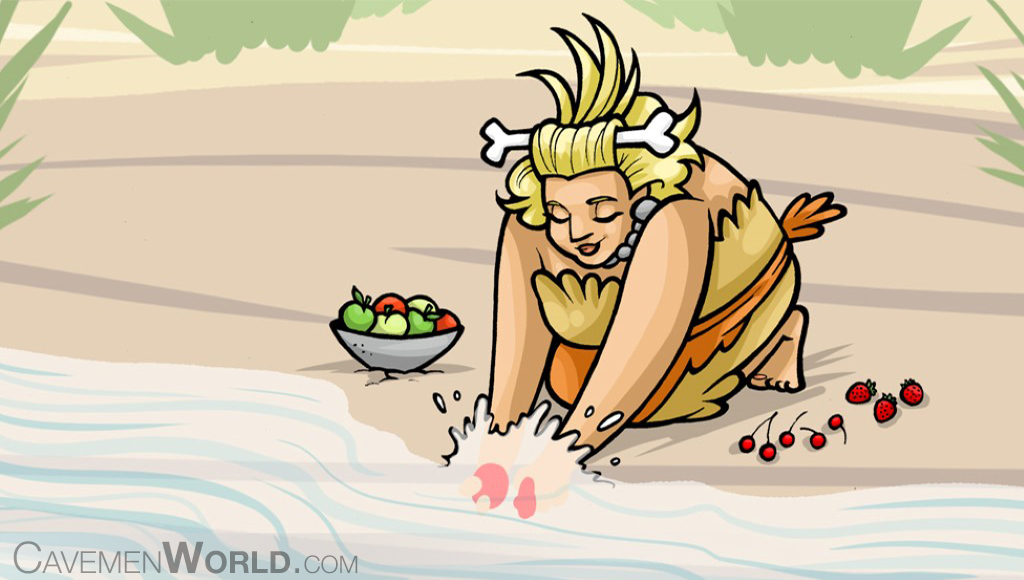 a cavewoman is washing fruits at the river