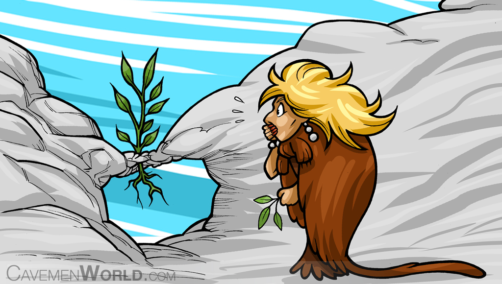 a caveman woman surprised looking at a plant that grows in the air