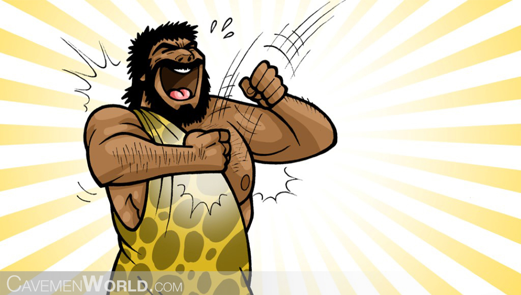 a strong caveman with a healthy immune system