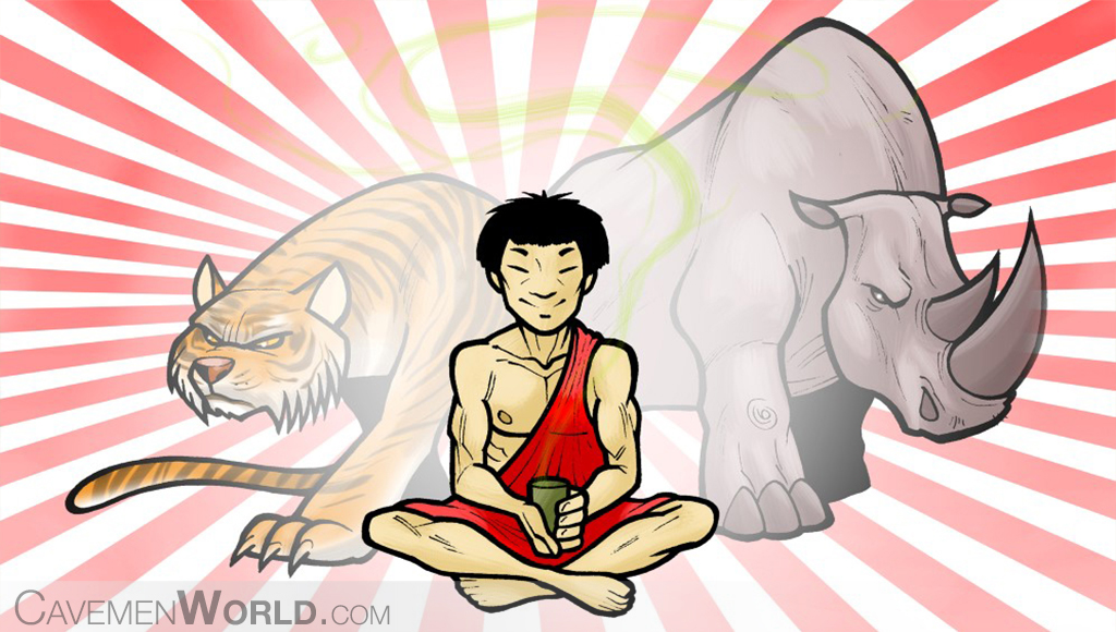 a traditional chinese medicine healer is sitting with herbs on his hands, and attracts forces from two animals, a tiger and a rhino