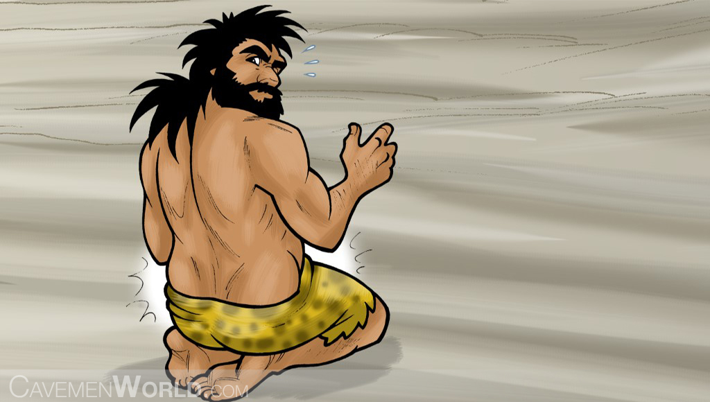 a healthy caveman with physical characteristics of an endomorph is sitting at ground