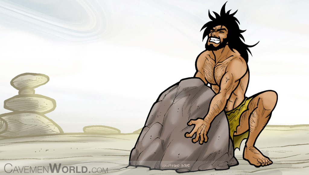 a young strong caveman is trying to lift a huge heavy rock