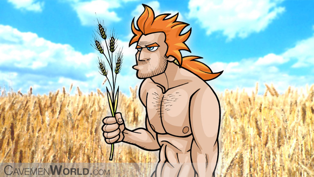 a caveman in a crop with a branch of wheat
