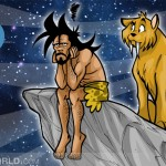 a caveman is depressed and a saber tooth tiger is looking at him