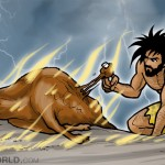 a caveman is eating a bull on fire