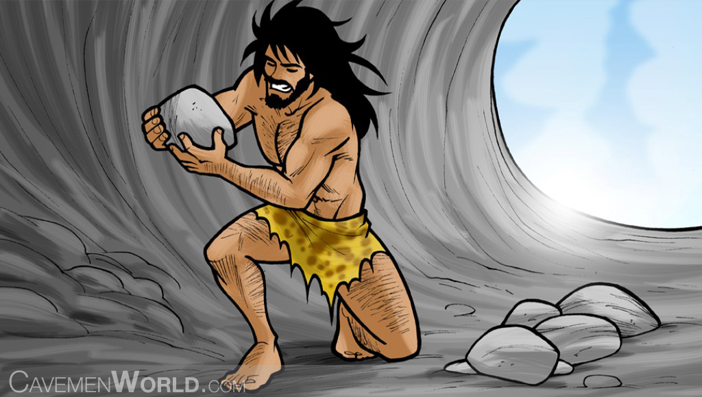 a caveman is lifting rocks at a cave