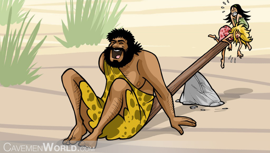 a heavy caveman is playing with two cavewomen in a seesaw