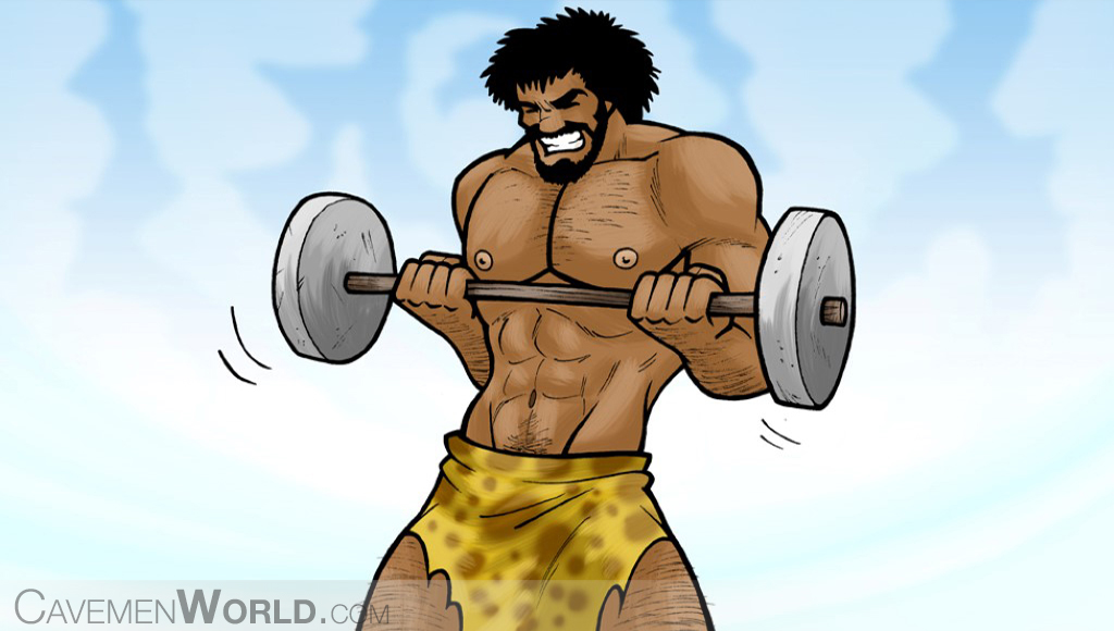 a strong caveman is doing exercise lifting weights