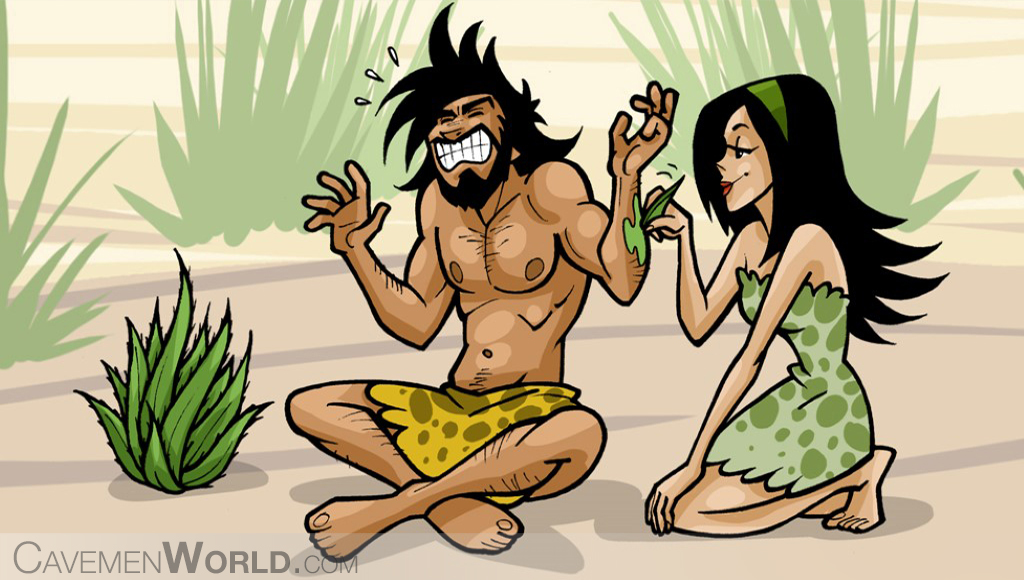 a cavewoman is healing a caveman with aloe vera