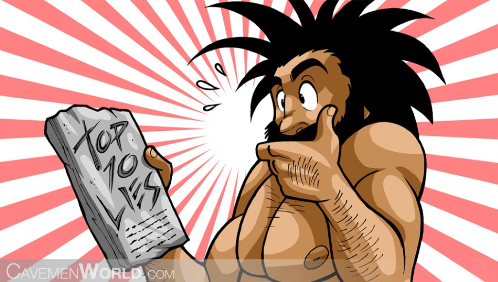 a caveman is surprised with a stone book about the top ten lies about the environment